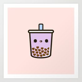 Cute Love Heart Bubble Tea Art Print