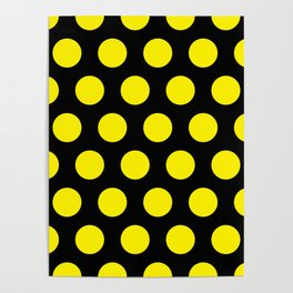 Yellow Circles on Black Background Poster