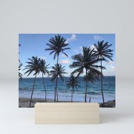 Barbados Beach with Tall Palm Trees Mini Art Print