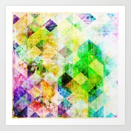 Green Geometric Grungy Diamond Pattern Art Print
