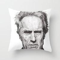 clint barton Throw Pillows featuring Clint by Rik Reimert