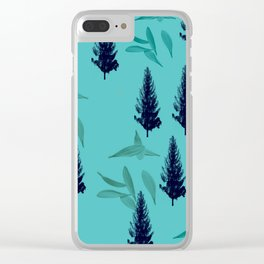 Trees & Leaves On Blue Background Clear iPhone Case