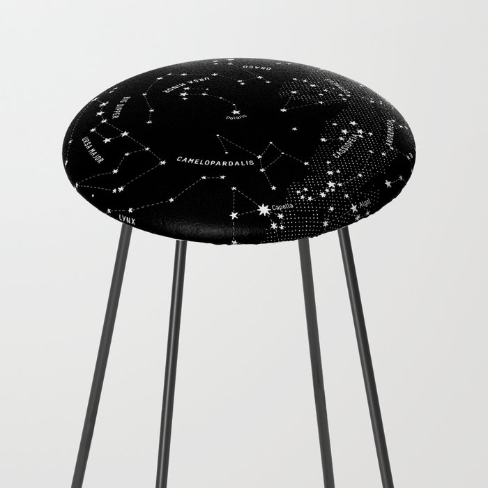 Constellation Map - Black Counter Stool