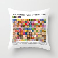 periodic table Throw Pillows featuring The Periodic Table of the Muppets by Mike Boon