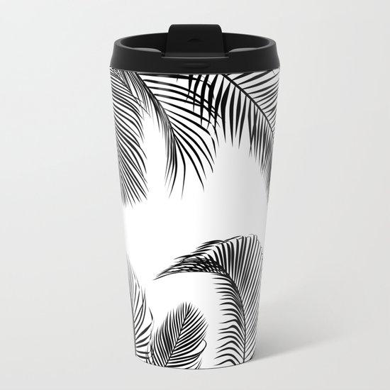 Black palm tree leaves pattern Metal Travel Mug