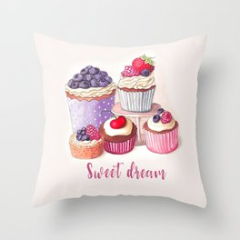 Sweet dream Cute cupcakes with berries Hand-drawn illustration Throw Pillow