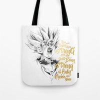 dragonball z Tote Bags featuring Dragonball Z - Strenth by Straife01