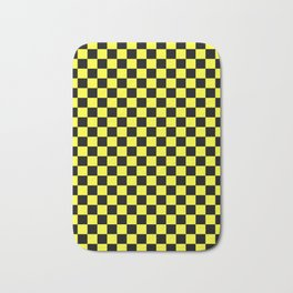 Black and Electric Yellow Checkerboard Bath Mat
