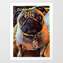 The PUG from our POP YOUR POOCH line Art Print