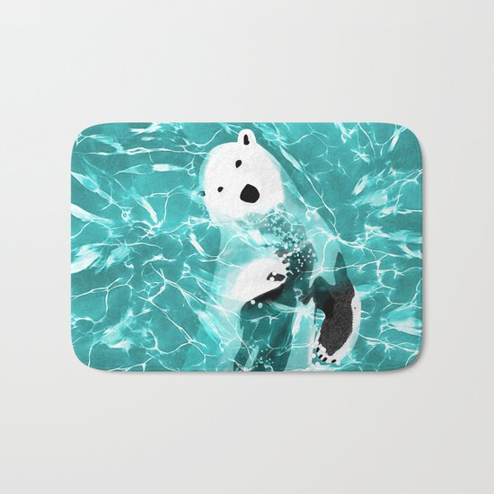 Playful Polar Bear In Turquoise Water Design Bath Mat