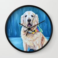 percy jackson Wall Clocks featuring Jackson by Lindsay Larremore Craige