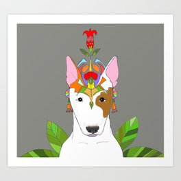 Bul Terier in jungle Art Print