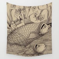 jazzberry Wall Tapestries featuring The Golden Fish (1) by Judith Clay
