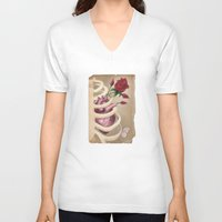 wedding V-neck T-shirts featuring Wedding Bouquet by Gin Cherry