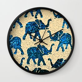Elephant March Blue Wall Clock