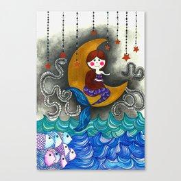 Mermaid in the moon Canvas Print