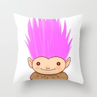 hamburger Throw Pillows featuring  Hamburger Troll by Noel ILL