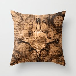 Antique World Map & Compass Rose Throw Pillow