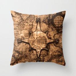 Antique World Map & Compass Rose Throw Pillow