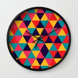 Colorful Triangles (Bright Colors) Wall Clock