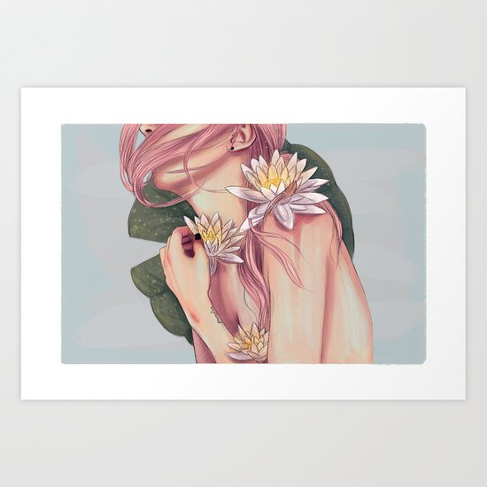 And She Loved Lillies Art Print