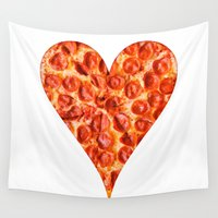 pizza Wall Tapestries featuring PIZZA by Good Sense
