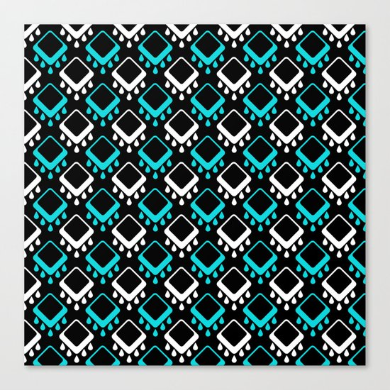 An abstract geometric pattern . Decoration white and turquoise on a black background . Canvas Print