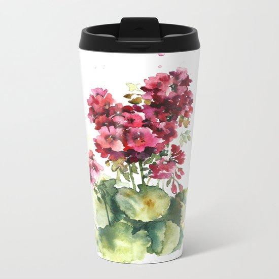 Watercolor geranium flowers Metal Travel Mug