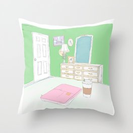 Green Bedroom view sitting on the bed  Throw Pillow