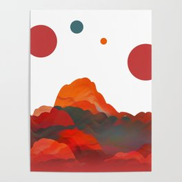 """Coral Sci-Fi Mountains"" Poster"