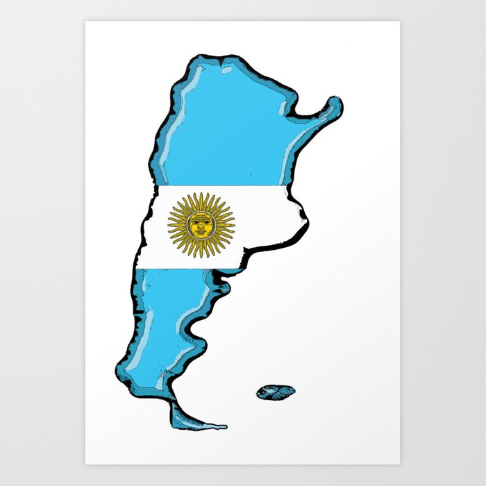 Argentina Map with Argentinian Flag Art Print by havocgirl