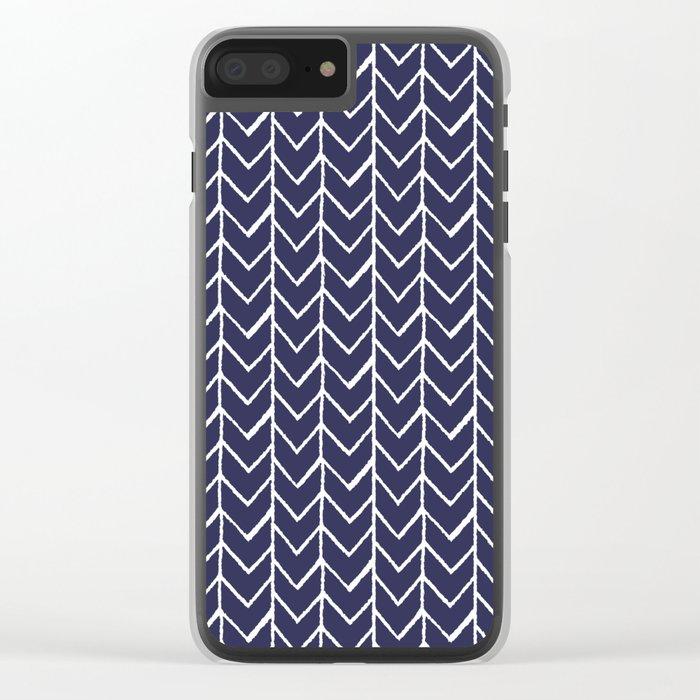 Herringbone Blue And White Clear iPhone Case