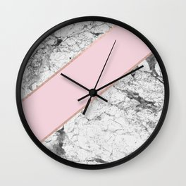 Celestial rose - dramatic white marble Wall Clock