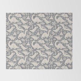 Delightful Dinos (gray) Throw Blanket