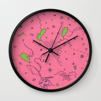 girly Wall Clocks featuring Girly by Amanda Trader