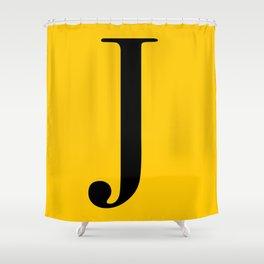 Serif J. Black on Yellow. Shower Curtain