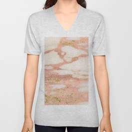 Marble - Rose Gold Shimmer Marble with Yellow Gold Glitter Unisex V-Neck