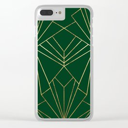 Art Deco in Gold & Green - Large Scale Clear iPhone Case