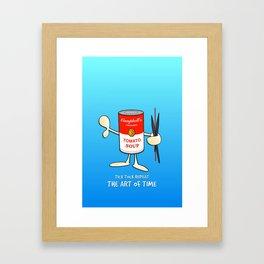 Tomato soup clock (blue) Framed Art Print