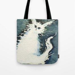 Frosty Whimsical White Cat Tote Bag