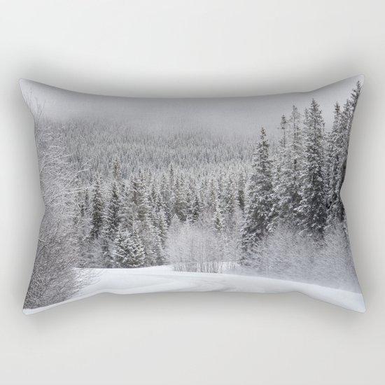 Snow Covered Road Rectangular Pillow