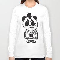 punk rock Long Sleeve T-shirts featuring Punk Rock Panda  by Team Rapscallion