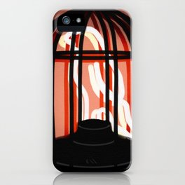 Bird in a cage neon sign iPhone Case