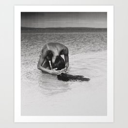 Nothing but tan lines, ocean, & beach female form black and white photography Art Print