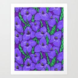 Puya Flowers Botanical Tropical Floral Pattern Purple Green Art Print