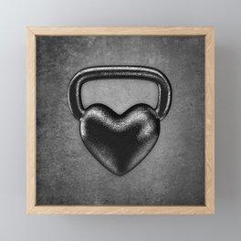 Kettlebell heart / 3D render of heavy heart shaped kettlebell Framed Mini Art Print