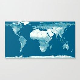 World Map Teal Canvas Print