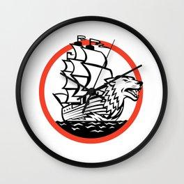 Galleon Ship Wolf on Bow Circle Retro Wall Clock