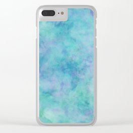 Teal and Blue Tropical Marble Watercolor Texture Clear iPhone Case