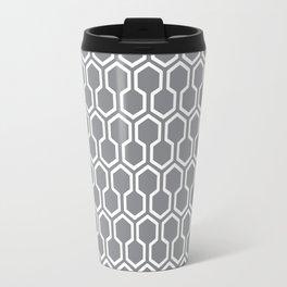 Honey Comb Pattern Grey Travel Mug